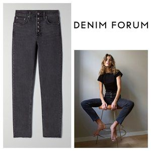 Denim Forum Exposed Button Yoko High Rise Slim Leg Button Fly Washed Black Jeans